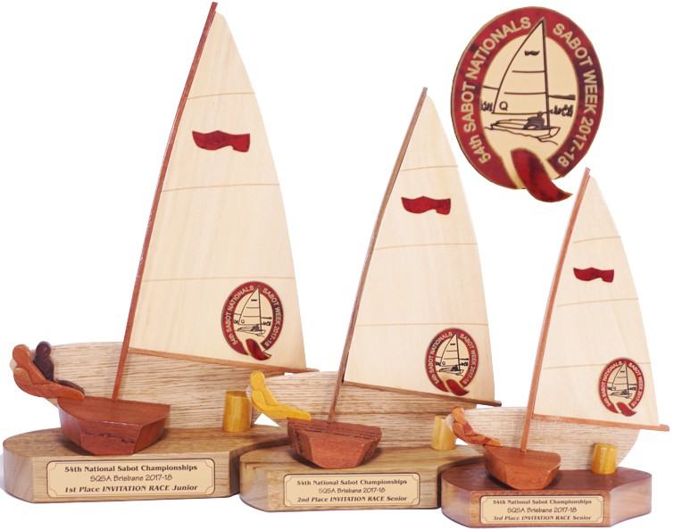 Sabot sailing trophy with logo