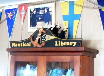 Nautical Library Pediment with Anchor and Burgee